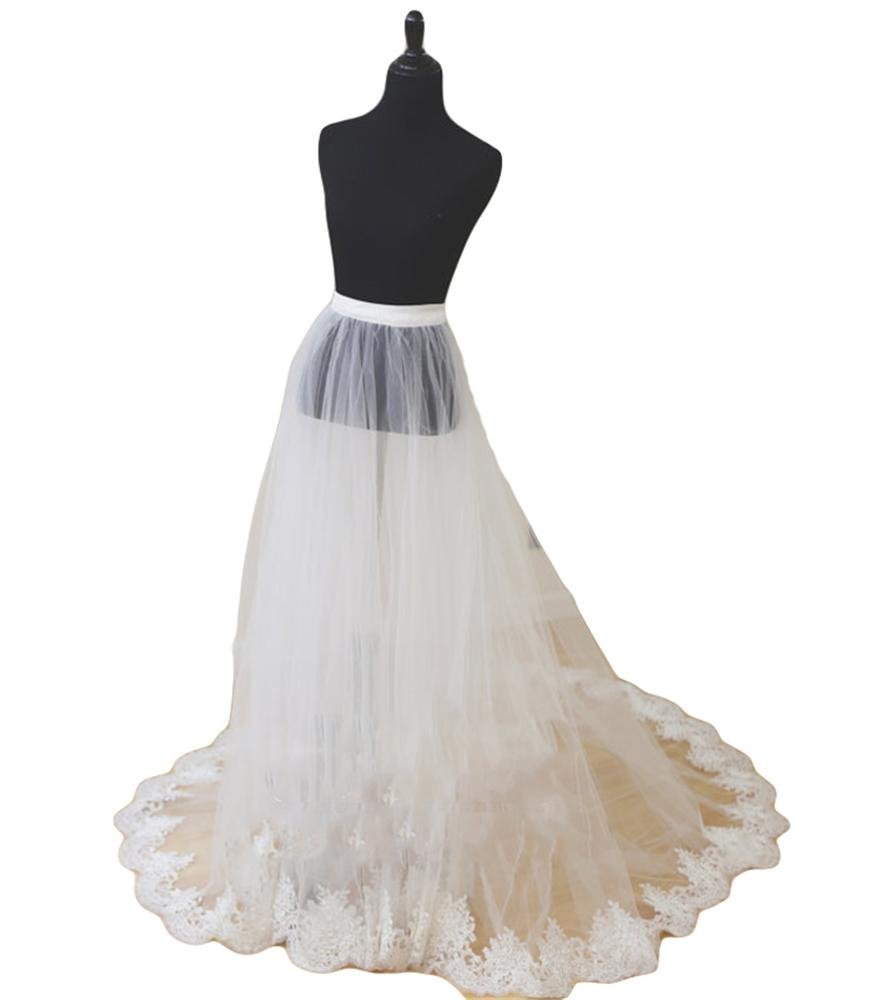 Simlehouse Detachable Bridal Skirt Wedding Overskirt 2 Layers Removable Tulle Skirt Lace Appliques Edge-White
