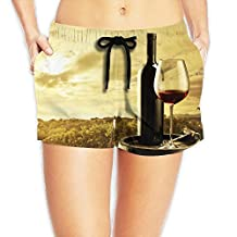 Beautiful Wine Wallpaper Board Shorts Ultra-light Pants With Pockets For Womans White
