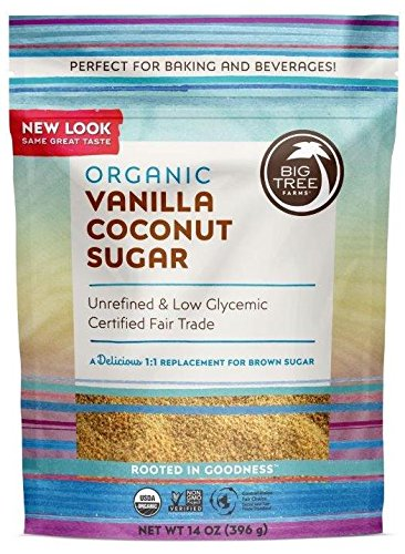 Big Tree Farms Organic Vanilla Coconut Sugar, Non-GMO, Gluten Free, Vegan, Fair Trade, Natural Sweetener, 14 Ounce (Pack of 3) (Packaging May Vary) by Big Tree Farms