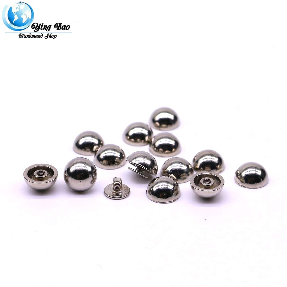 Garment Rivet - 20sets/Pack 11mm (Diameter), 6mm (Height) Silver Colors Mushroom Nail Punch Leather of Rivets B-20 - (Color: Silver)