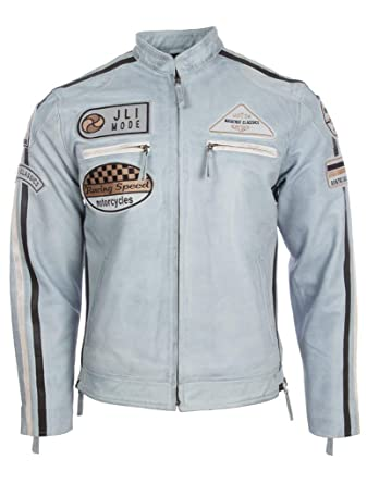 a5652631f272 Aviatrix Veste pour Hommes en Cuir Veritable avec Bande Collier Et Insignes  De Moto (CXUS)  Amazon.fr  Vêtements et accessoires