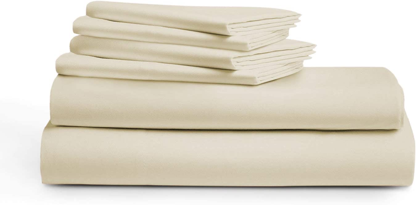 "True Luxery 1000 Thread Count Sheet Set 100% Long Staple Egyptian Cotton Luxurious Hotel Collection 4 Pcs Marrow Hem (1Flat Sheet 1Fitted Sheet &2 Pillowcases) 18"" Deep Pockets(Ivory,Cal King)"