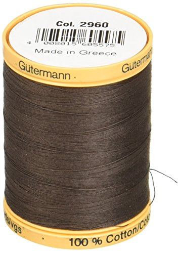 Natural Cotton Thread Solids 876 Yards-Bark Brown by Gutermann