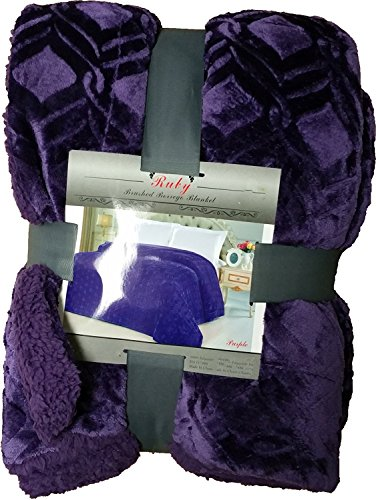 Fancy Collection Twin Size Embossed Blanket Sumptuously Soft Plush Solid Purple with Sherpa Reversible Winter Blankets Bedspread Super Soft New (Twin Size, Purple)