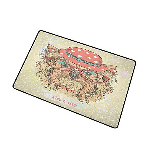 Wang Hai Chuan Yorkie Universal Door mat Be Cute Portrait of an Adorable Dog with Earrings Necklace Glasses Hat Makeup Door mat Floor Decoration W29.5 x L39.4 Inch Pale Brown Coral
