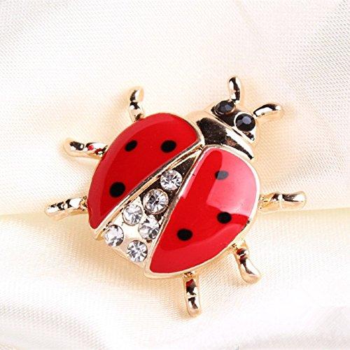 vb5002 Fashion animal rhinestone ladybug brooch for women jewelry (Zinc Alloy)
