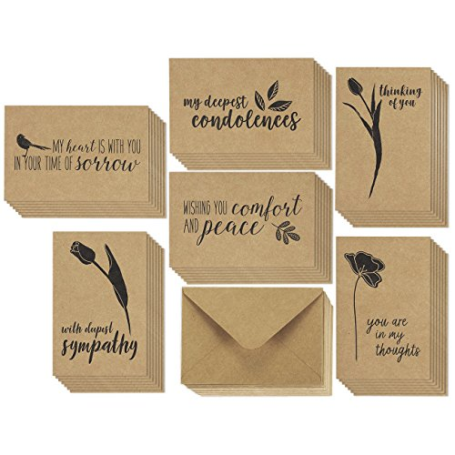 Flowers Sympathy Card (36 Pack Brown Kraft Paper Sympathy Greeting Cards Assortment Condolence Note Cards Bulk Box Set 6 Floral Bird Foliage Designs, Brown Kraft Paper Envelopes Included, 4 x 6)