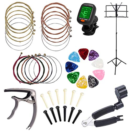 Guitar Accessories,AOVAVO Guitar Tool Changing Kit with Picks, Capo, Acoustic Guitar Strings, String Winder,Guitar Pins,Guitar Tuner,Music Stand for Guitar Beginners Professional Guitarists