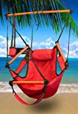 New Deluxe Hanging Sky Air Chair Swing Hammock Chair W/ Pillow and Drink Holder – Red