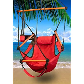 New Deluxe Hanging Sky Air Chair Swing Hammock Chair W/ Pillow And Drink  Holder