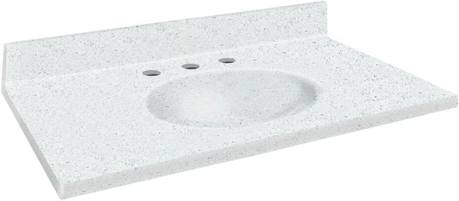 Matrix White Samson ITB2522-50-8 Solid Surface 25x22 Chelsea Vanity Top with Integral Bowl and 8-Inch Center Eased Edge