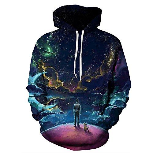 - NEWCOSPLAY Unisex Athletic Hooded Sweatshirts 3D Digital Printed Hoodies Colorful Galaxy Pattern Big Pocket Sweaters (XXL, Man-Dog)