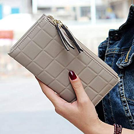 Lannmart Women Wallets Square Long Purse Double Zipper Card Holder Womens Purse carteras Mujer para Mujer