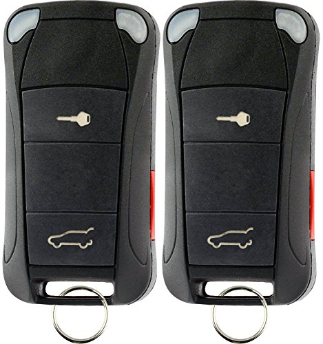 KeylessOption Keyless Entry Remote Control Car Ignition Flip Key Fob Replacement for KR55WK45032 (Pack of 2) (Car Replacement Keys Porsche)