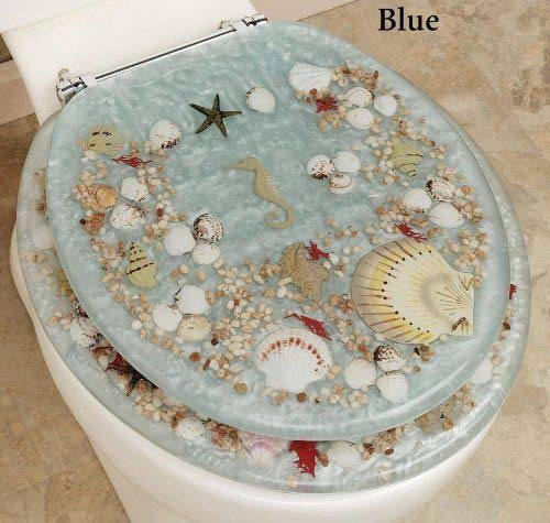 SEASHELL AND SEAHORSE RESIN TOILET SEAT - STANDARD SIZE, BLUE