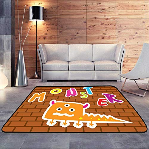 Low-Profile Mats,Cute Monster Doodle with Brick .W 35