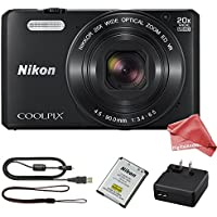Nikon Coolpix S7000 16 MP Digital Camera with 20x Optical Image Stabilized Zoom 3-Inch LCD (Black) + DigitalAndMore Ultra Gentle Micro Fiber Camera Lens Cleaning Cloth