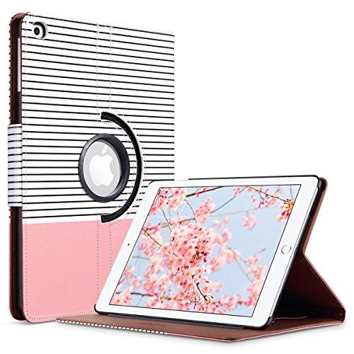 ULAK iPad 2017/2018 iPad 9.7 inch Case, Slim Lightweight 360 Rotating Folio Folding Stand Smart Cover Auto Wake/Sleep PU Leather Protective Case for iPad 9.7 Inch (2017) Rose Gold Stripes