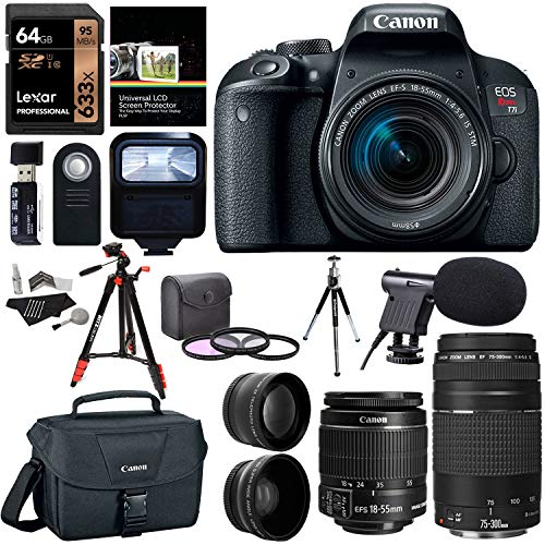 Canon EOS Rebel T7i EF-S 18-55 is STM Kit, EF 75-300mm III, Lexar 633x 64GB, XIT Wide Angle, Telephone Lens, Polaroid 48 Tripod and Accessory Bundle