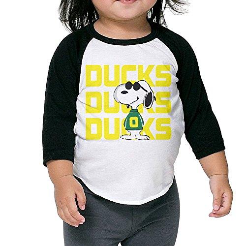 Kids Watches Oregon Ducks - Kim Lennon Oregon Dog Duck Unisex 3/4 Sleeve Raglan Tshirt Black 4 Toddler