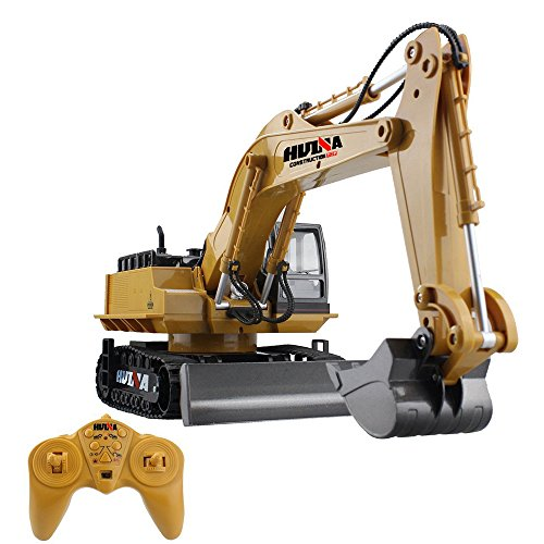 JTT-TOYS RC Excavator Remote Control Crawler Tractor with Metal Shovel, 11 Channel Full Function Construction Engineering Vehicle, Big Size Battery Rechargeable Caterpillar Excavator Truck With Sound