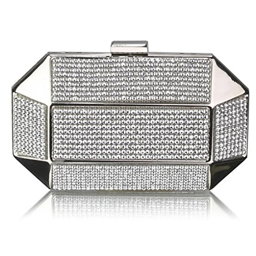 Clutch Bag CWE00285 Wedding Out BAG Prom Night SILVER Diamante Women's Handbags LeahWard Sparkly For Crystal Evening UTI4xwq