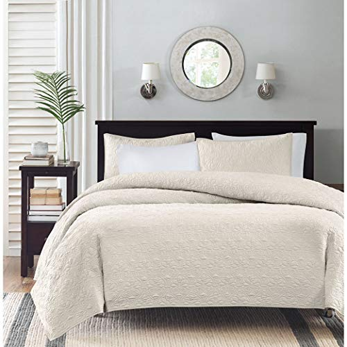 Madison Park Quebec Coverlet Quilted Cotton Fill Mini Set, King/Cal King, Ivory ()