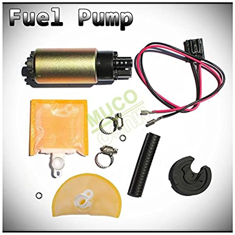 MUCO New 1pc High Performance Electric Gas Intank EFI Fuel Pump With Strainer/Filter + Rubber Gasket/Hose + Stainless Steel Clamps + Universal Connector Wiring Harness & Necessary Installation (99 Eclipse Gasket)