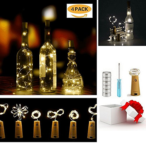 Wine Bottle Cork Lights, LED Copper Wire String Lights for Bottle DIY, Party Decor, Christmas, Halloween,Table Decorations, Wedding, Warm White 4 Pack