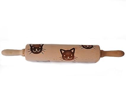 Grabado Cat Patrón Rodillo para galletas estampado de madera ...