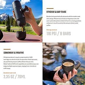 Wacaco Minipresso NS, Portable Espresso Machine, Compatible Nespresso Original Capsules and Compatibles, Travel Coffee Maker, Manually Operated from Piston Action