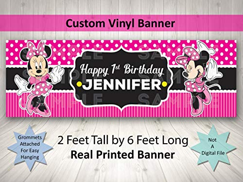 Minnie Mouse Birthday Banner Personalized Custom Minnie Mouse Party Decoration Large 2FTx6FT ()