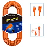 EPICORD 16/3 Vinyl Outdoor long Extension Cord 3 prong Heavy Duty for Indoor and Outdoor (50 Feet Orange)