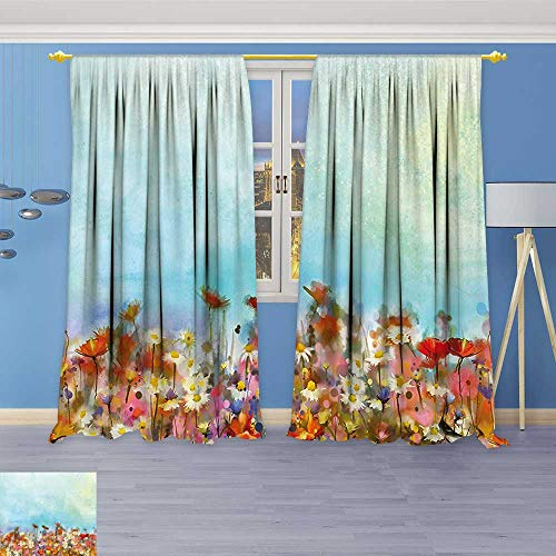 Philiphome 2 Panel Set Digital Printed Window Curtains,Several Kind of Flower Bed in Sun Summer Aquarelle Technique Design Multi for Bedroom Living Room Dining Room