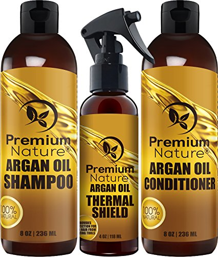 Price comparison product image Argan Oil Hair Treatment Gift Set - 3 Piece:Argan Oil Shampoo (8oz) Conditioner (8 oz) & Hair Protection Spray (4oz) - Sulfate Free Natural Hair Repair - Premium Nature