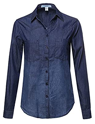 Awesome21 Women's Relaxed Fit Button Down Denim