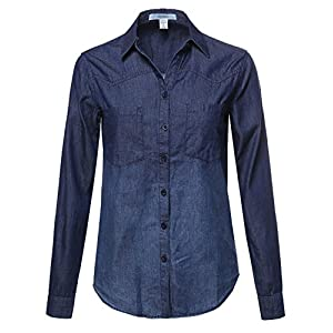 Awesome21 Women's Casual Relaxed Fit Button Down Collar Denim