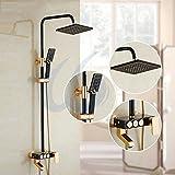 European Style Shower Set Square Shower Head Handheld Shower Holder Classic Black Shower Tap Bathroom Faucet Shower Set