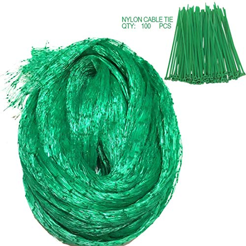 Yinghezu 33 Ft x 13 Ft Green Anti Bird Netting Plus 100Pcs Nylon Cable Ties, Farm Garden Plant Netting, Fruits Fencing Mesh, Protect Fruits from Birds, Protector Durable Cover Fish Ponds.