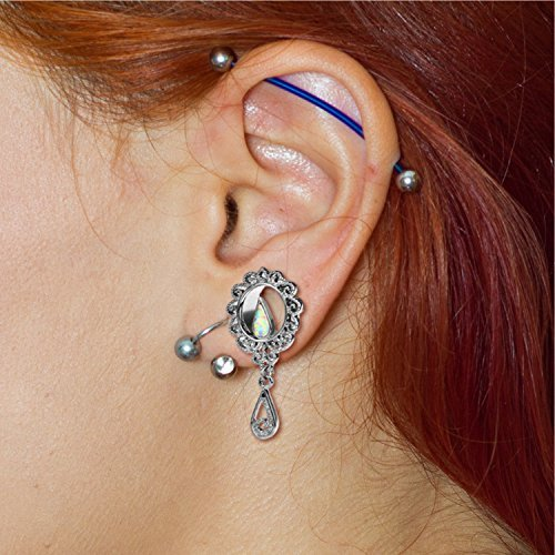 BodyJ4You 4PC Single Flared Created-Opal Filigree Tunnels Ear Gauge Plugs 12mm (1/2 Inch) Gauges PL6321-12mm