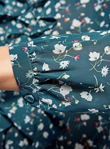 oodji Collection Donna Camicetta con Volant e Collo alla Coreana Blu (7430f)
