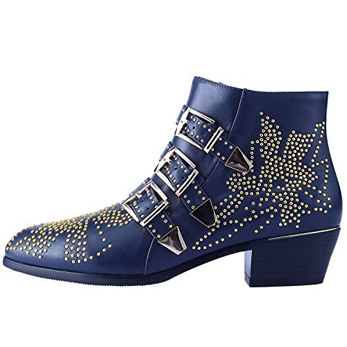 Boots for Women,Women's Leather Boot Rivets Studded Shoes Metal Buckle Low Heels Ankle Studded Booties Blue Gold 10 Size -