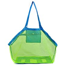 Large Toys Storage Bag, YOBOKO Beach Mesh Tote Bag Space Saver Bag for Toys, Cloths (Blue)