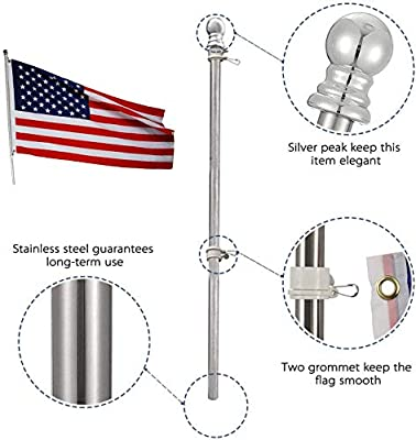 INFLATION 4.9 FT Flag Pole Kit with Bracket for Outdoor Garden Wall Mounted Stainless Steel Flagpole with Rotating Rings