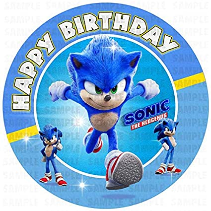 Amazon Com Sonic The Hedgehog 8 Inch Edible Cake Topper Birthday Party Collection Of Edible Cake Decorations Best Quality Printing Grocery Gourmet Food