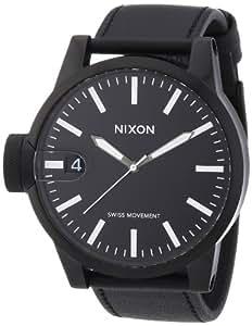 NIXON Men's NXA127001 Black Leather Strap Watch