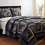 American Cabin 3 Piece Queen Quilt Set - Blues and Grays