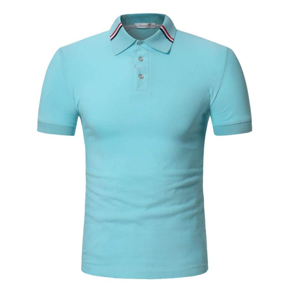 kaifongfu Shirt for Men,Slim Fit Short Sleeve Polo Shirt Men Short Sleeve Top Blouse(Light Blue,L)