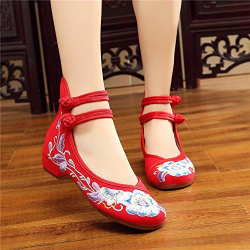 Danse Tendon Augmenté Chaussures Folklorique Style De gules Les Chaussures Chaussures KHSKX Brodés Souliers De Fond Épaississement vq6wR85xP