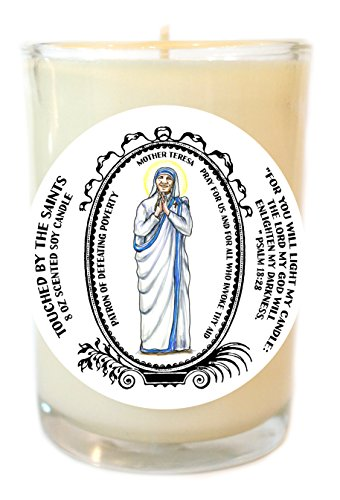 Mother Teresa Patron of Defeating Poverty 8 Oz Scented Soy Prayer Candle by Touched By The Saints